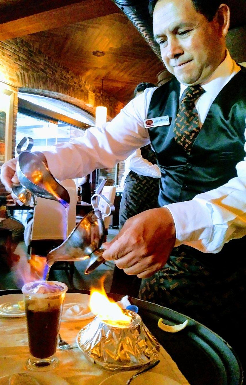 At Puerto Madero restaurant, Cancun: After a scrumptious dinner, an elegant flaming coffee#VacationLife via @Vistana