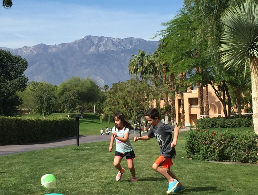 A little game of soccer outside our villa at the Westin Mission Hills in Rancho Mirage.#VacationLife via @Vistana