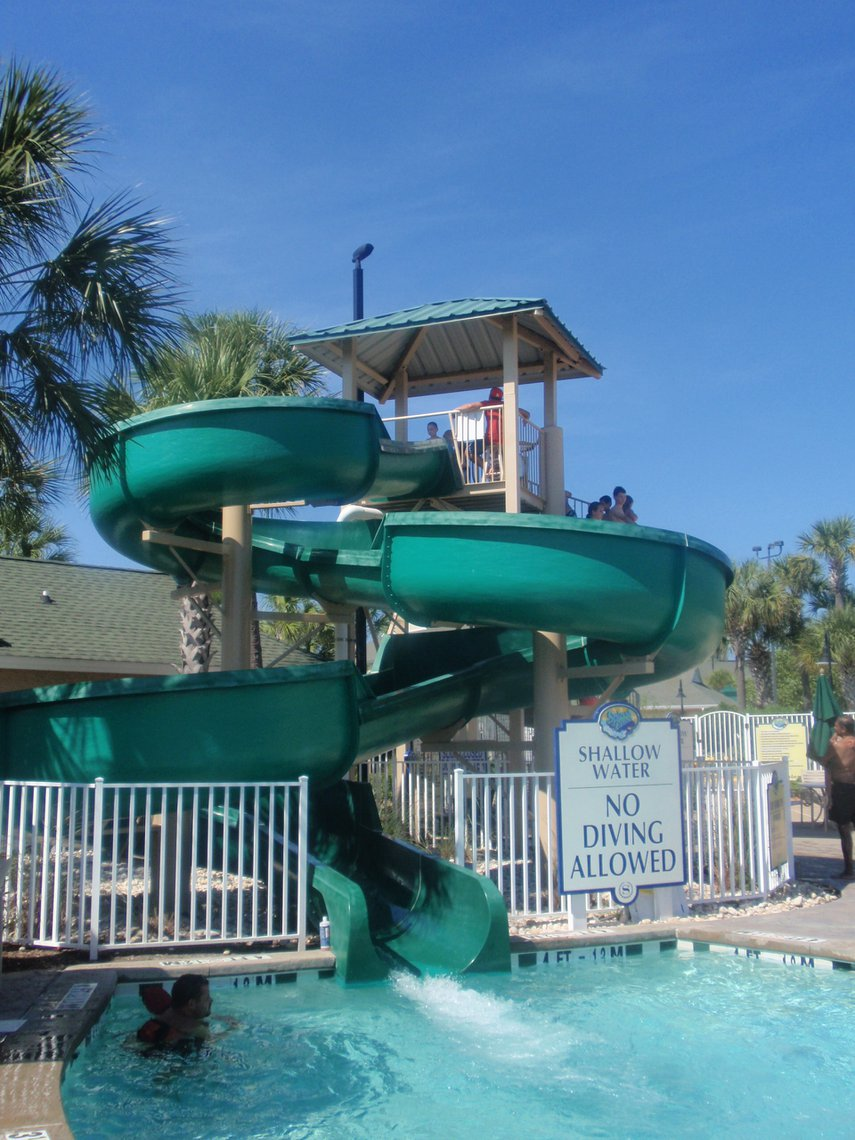 All the grandkids from 5 to 15 loved this slide. So did Grandpa! Great kids' pool area with pirate ship, too. #VacationLife via @Vistana