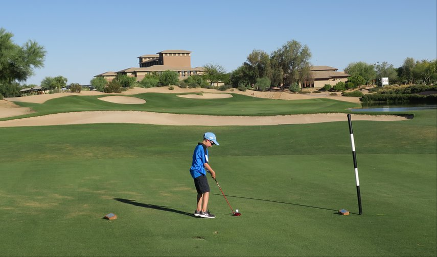 My son's first ever 9 holes.  Here he is teeing off on #9 of the Ironwood course.#VacationLife via @Vistana