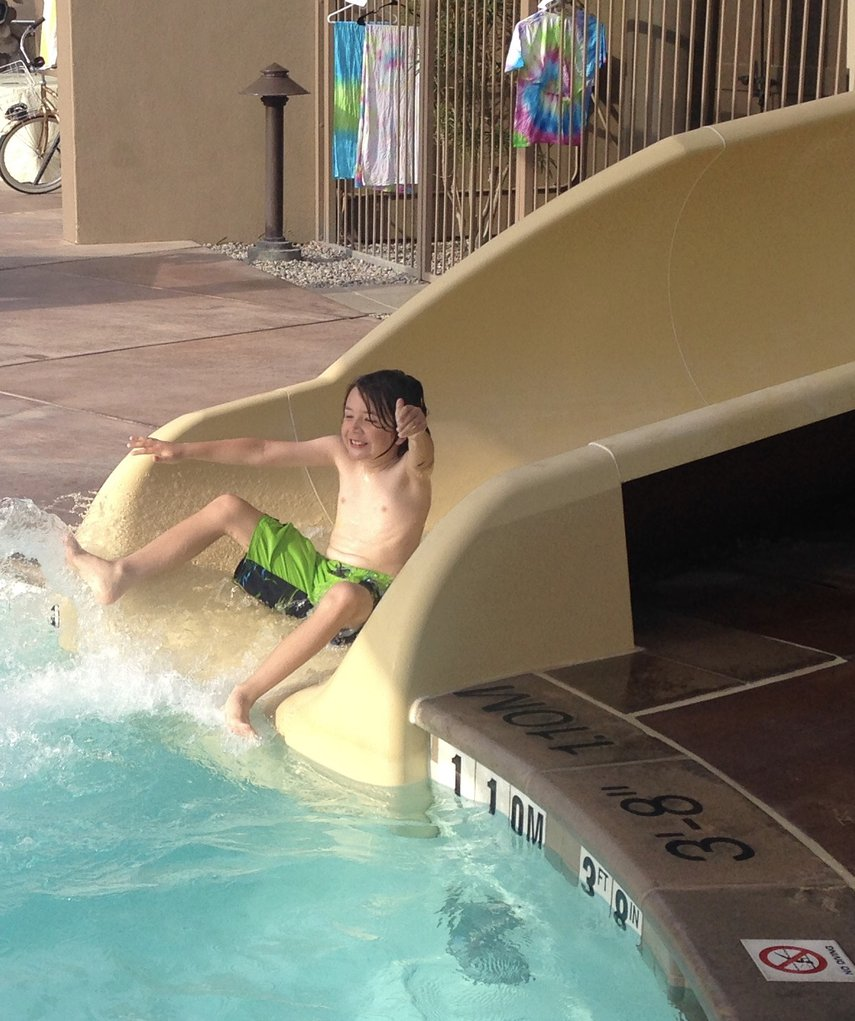 8 year old grandson has been coming to Desert Wilows for years..Mastered the slide in 2017!#VacationLife via @Vistana
